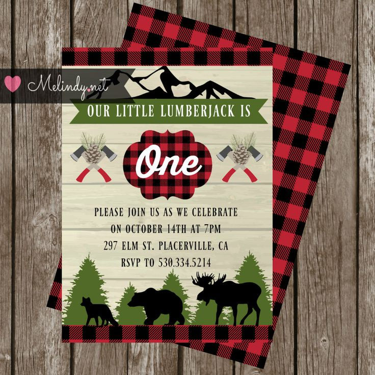 Lumberjack Birthday Party Kit.  Invitation, Thank you cards, Cupcake Toppers and…