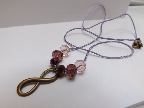 light purple cord eternity infinity charm beaded by LizzyNicholls, £4.50