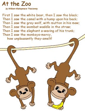 list poetry for kids | poem At the Zoo by William Makepeace Thackeray