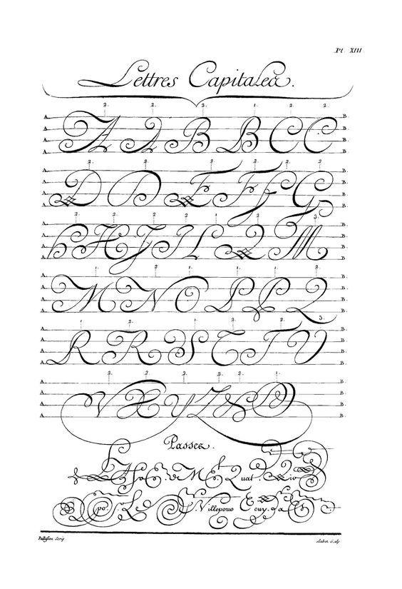 Calligraphie Planche XIII (L'Encyclopédie, D'Alembert & Rousseau)