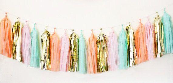 Garland tassel metallic gold, pink, peach, and mint tissue paper tassel // birthday // wedding // baby shower on Etsy, $29.00