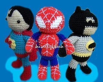 Instand Download  Amigurumi Crochet PDF pattern - Set of 3 Hero
