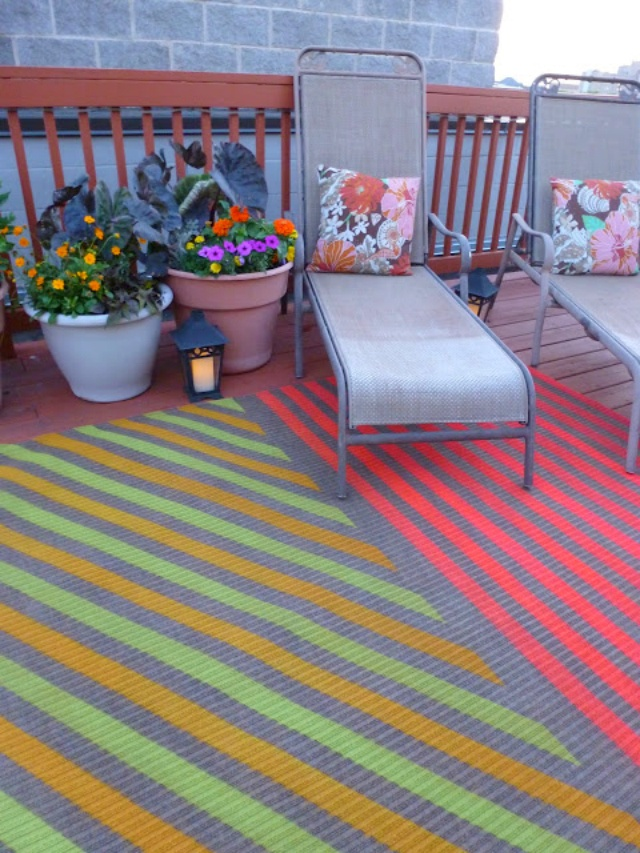 Outdoor-rug - spray painted design
