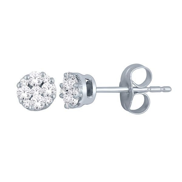 Diamond Stud Earrings In 14k White Gold 2304485 Helzberg Diamonds