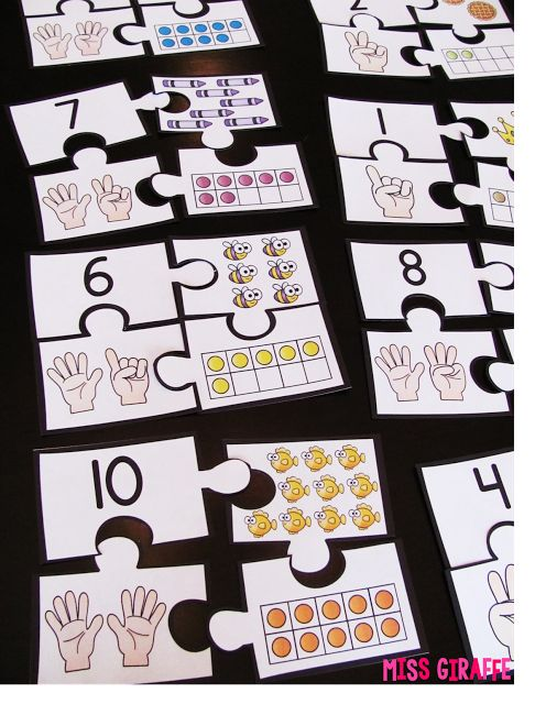 Puzzle math station for representing numbers - Building Number Sense in First Grade