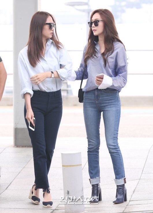 160907 Krystal Jung Jessica Jung Jungsis At Icn Go To Hongkong Sica Style Pinterest