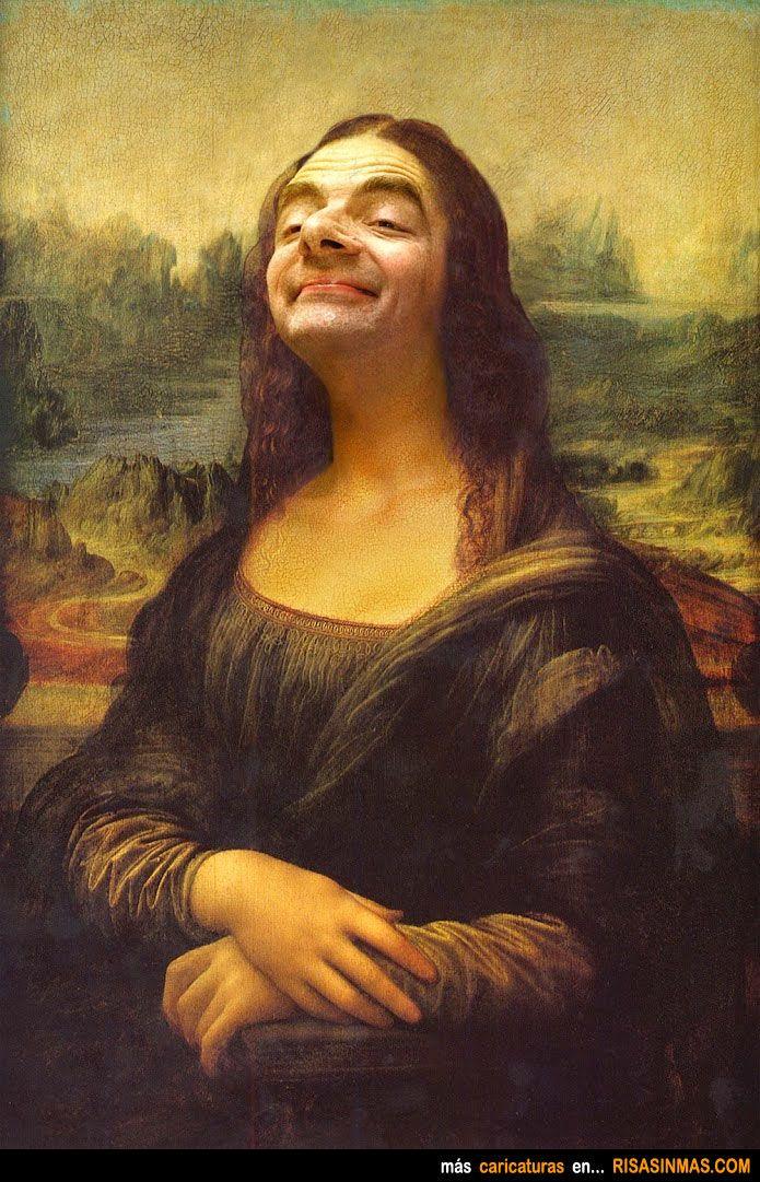 Caricatura de La Mona Lisa si fuera Mr. Bean.