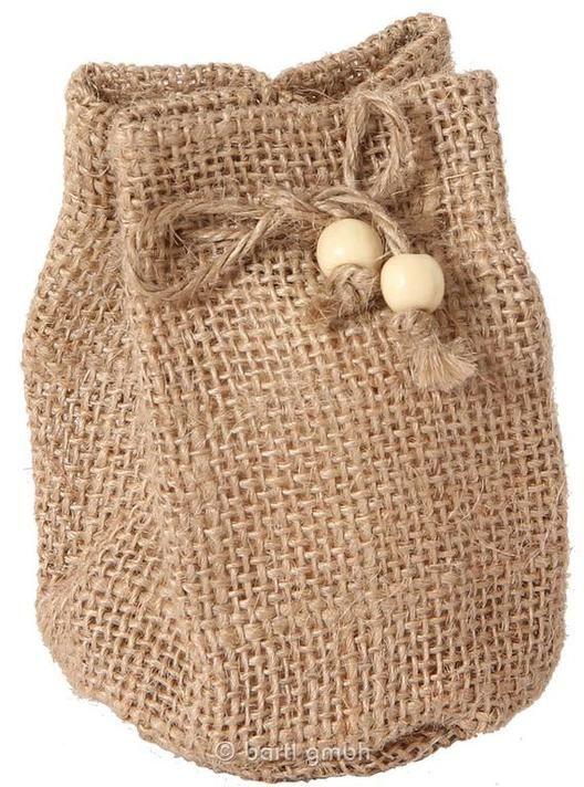 Jutesäckchen mit Boden, klein natur aus Jute mit eingenähtem runden Boden und Zugbändern | 110621 / EAN:4032821021939