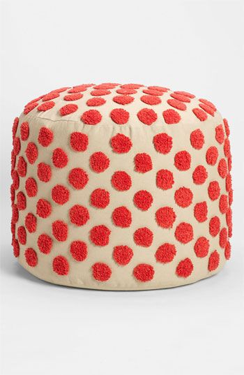 Polka dot pouf with tufted spots. (Could be an ottoman, end table