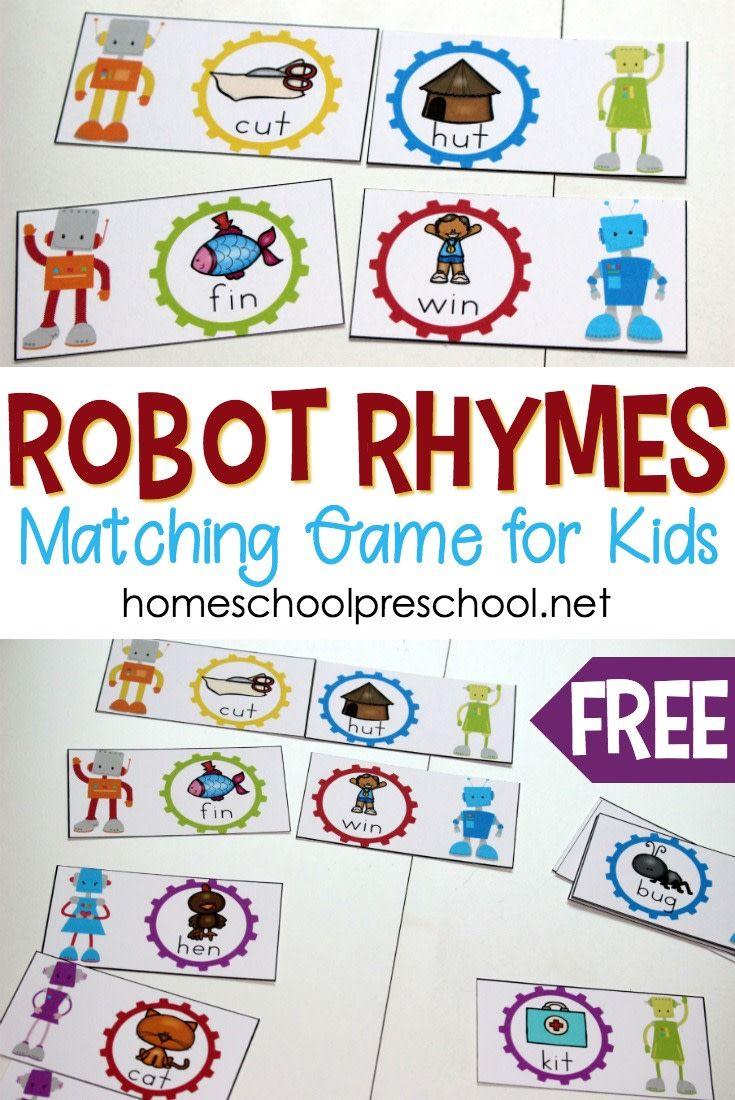 Free Robot Themed Rhyming Words Game For Preschoolers Robots Preschool Theme Rhyming Activities Preschool Free Preschool Printables [ 1100 x 735 Pixel ]