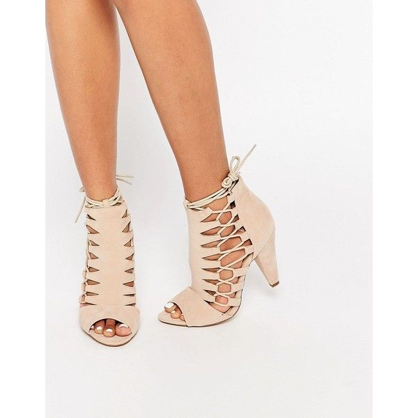 Public Desire Nude Ghillie Shoe Boot (£34) ❤ liked on Polyvore featuring shoes, boots, ankle booties, beige, lace up peep toe boots, peep toe boots, peep toe ankle booties, lace up booties and faux-fur boots