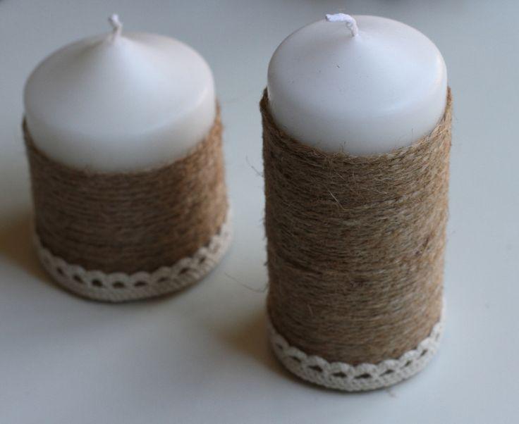 Velas decorativas Luna Babiana cuerda y puntilla