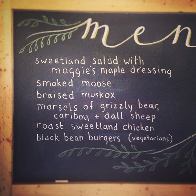 "You know you're at a farm wedding when the menu consists of ""smoked moose braised musk ox and morsels of grizzly bear"" hunted by the groom and ""dall sheep and roast chicken"" raised by the bride. The mic has been dropped. Love and congrats to Norah and Chris!!! #farmwedding #wedding menu #muskox #vermontwedding #wedding #vermont #vt"