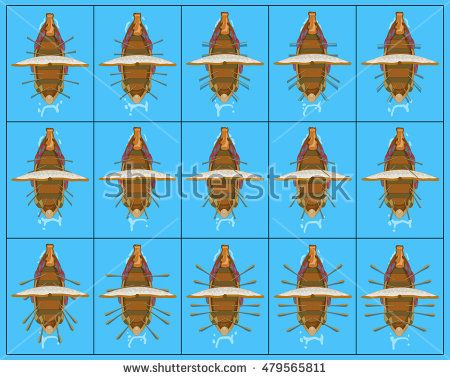 Drakkar. Paddle board frame by frame animation