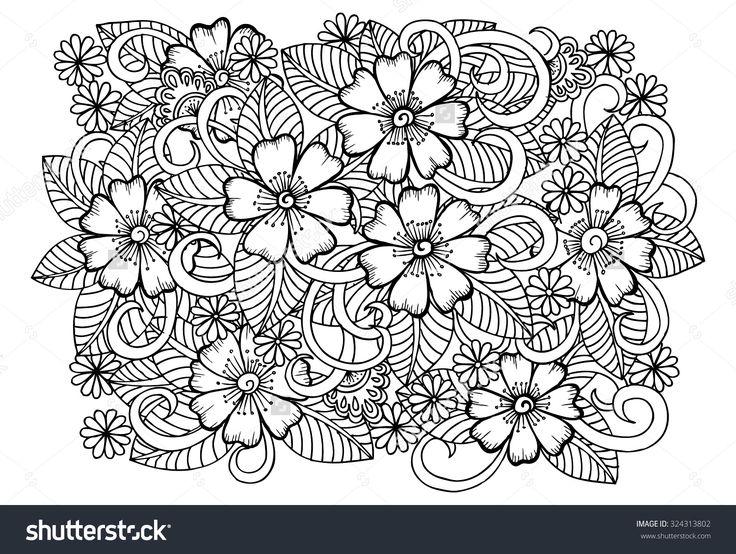 beyaz üzerine siyah çiçek Doodle buket