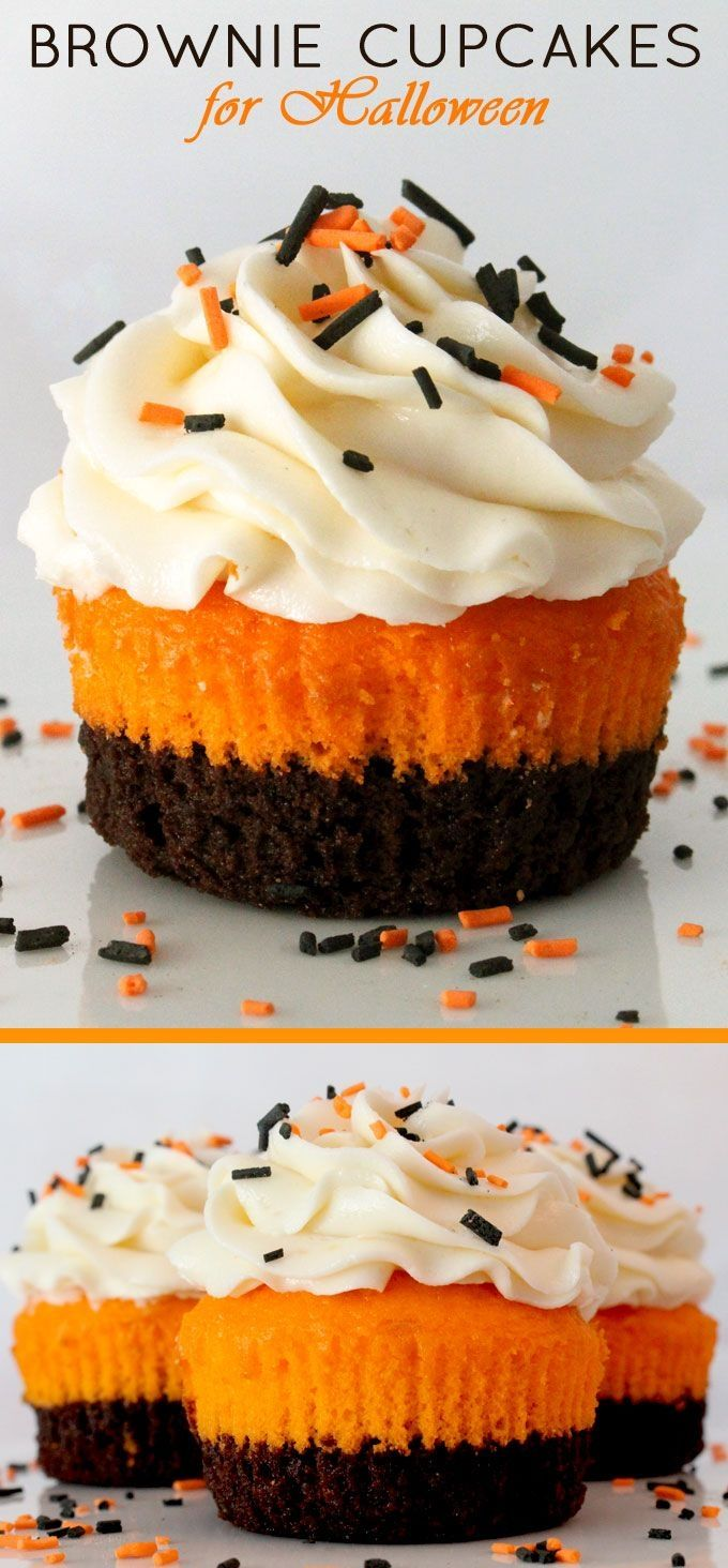 Brownie Cupcakes for Halloween - brownies plus cake plus frosting in one unique and delicious Halloween Cupcake. This special Halloween Treat tastes as amazing as it looks!