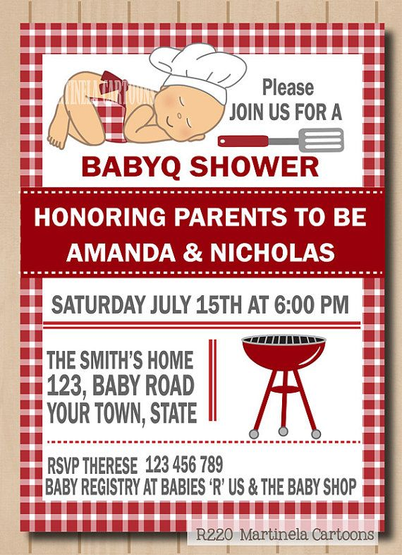 Bbq baby shower invitation babyq invite baby by for Baby shower bbq decoration ideas