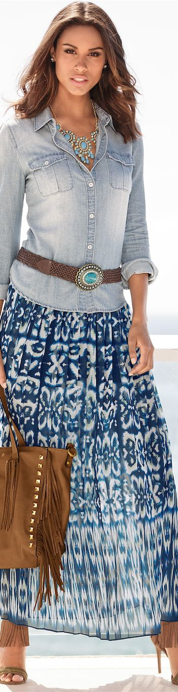 A great combination of blues and turquoise.  Love the skirt with the light denim top. All from the website LOOKandLOVEwithLOLO: BOHO CHIC, CASUAL CROCHET, AND LACE