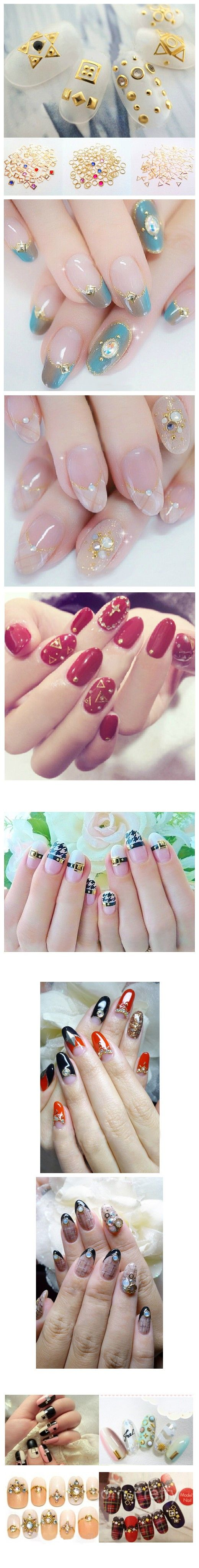 $2.79 10Pcs/set Mini Square Round Triangle Design Nail Studs Fashion 3D Nail Art Decoration - BornPrettyStore.com