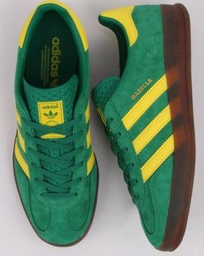 Adidas Gazelle Indoor Trainers Green/Yellow   Adidas outfit shoes ...