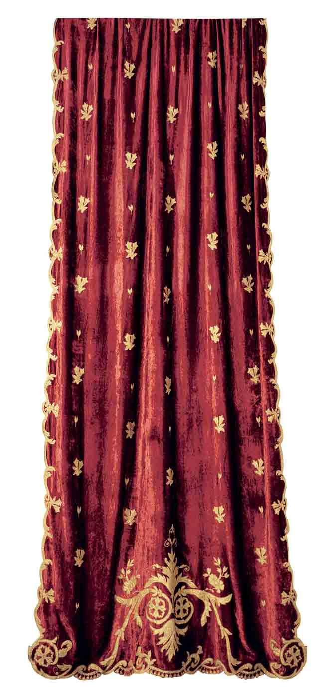 Wine velvet curtain panel with gold embroidery a velvet for Red and gold drapes