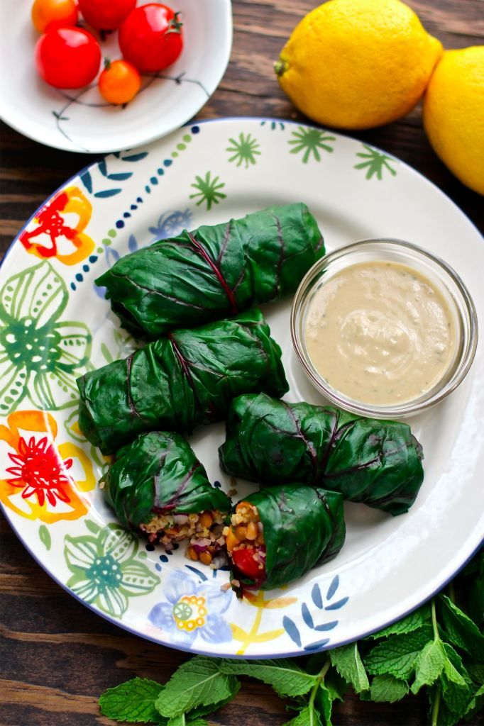 Swiss Chard Rolls 12 large Swiss chard leaves 1 cup cooked bulgur 1 ½ cups lentils, cooked or canned 4 cherry tomatoes, diced ¼ cup parsley, diced 2 tablespoons soy sauce or Bragg's Liquid Amino Acids 1 teaspoon black pepper 2 tablespoons fresh mint, diced 1 small red onion, diced Zest from 1 lemon