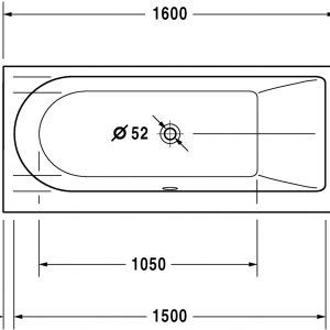 standard bathtub size cm