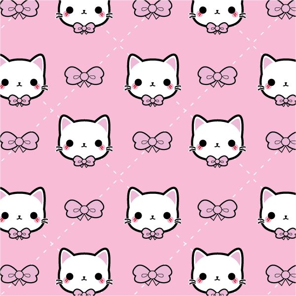 A cute phone case pattern I came up with. Featuring my Bow Kitty design. #bow #kitty #pattern #kawaii #cute #illustration