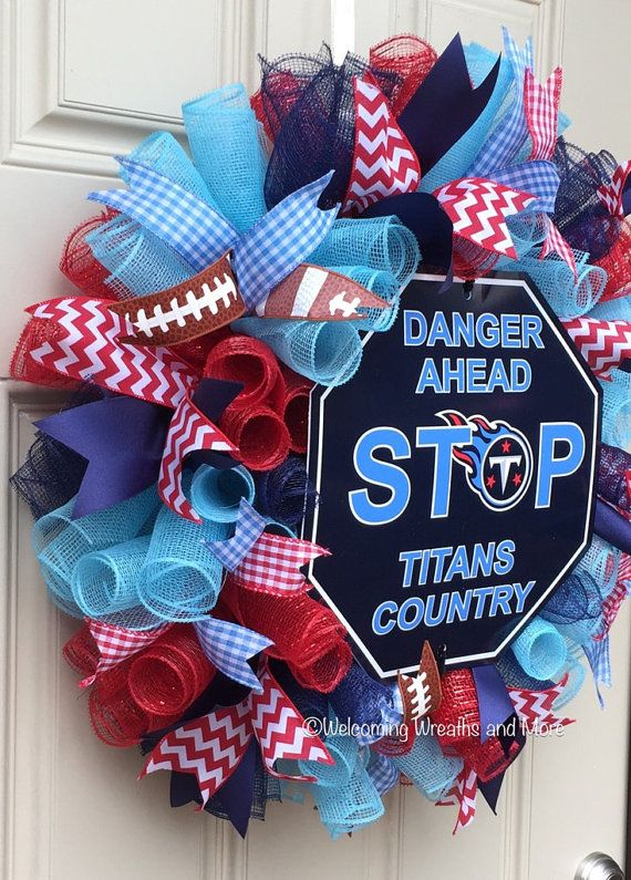 Tennessee Titans Wreath Titans Deco Mesh Wreath TN Titans