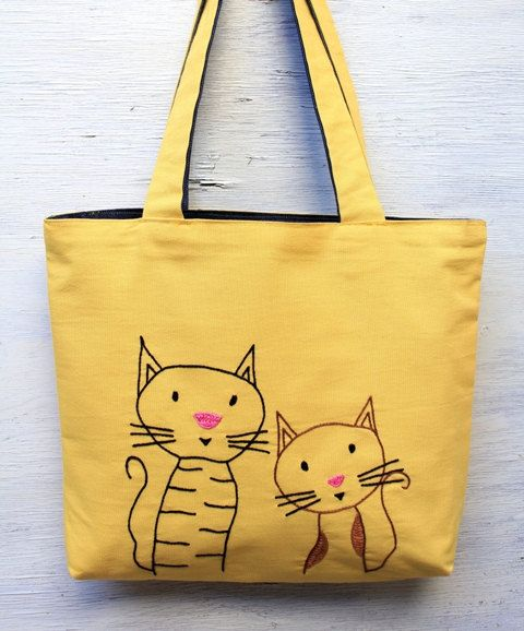 yellow bag - tote bag - frend cats yellow embroidery embroidered hand sewn bag with girl eco-friendly reusable bag