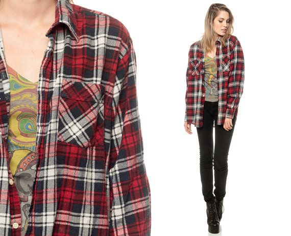 oversized plaid shirt 90s flannel red black white