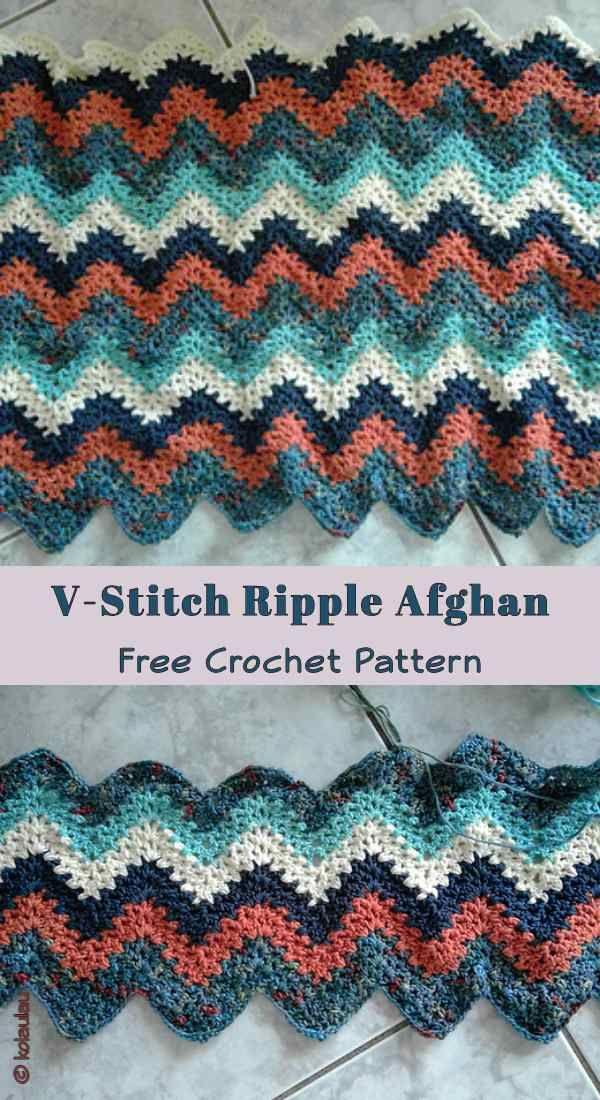 V Stitch Ripple Afghan Free Crochet Pattern Crocheting Pinterest