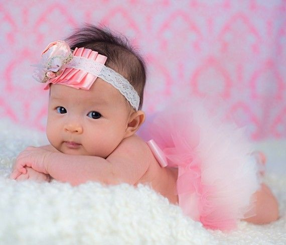 Petite Baby Ballerina Tutu for Newborns and Toddlers. A proportioned tutu that is sewn in two colors of pink.