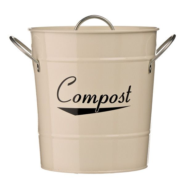 new cream galvanised steel kitchen compost waste bin with plastic inner bucket