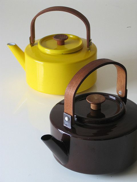 COPCO enamel tea kettles. michael lax vintage. Can get in a range of colors, nice blue, cream, white – what do you think?