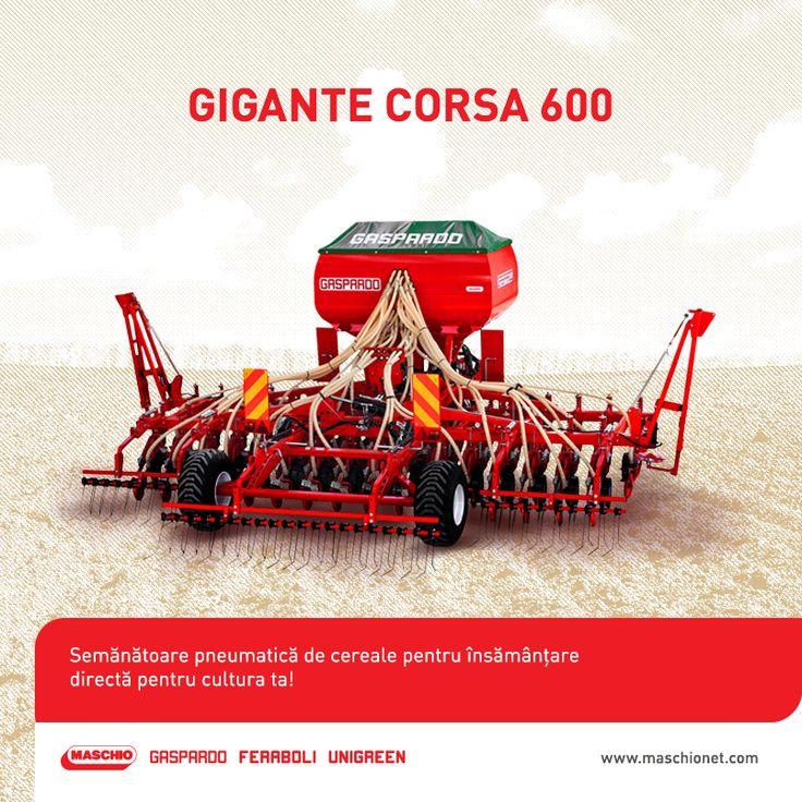 Investește în viitorul fermei tale și achiziționează acum un utilaj agricol de excepție: semănătoarea pneumatică Gigante Corsa 600 ideală pentru însămânțare directă. Aceasta este prevăzută cu un element de semănat cu roți din fontă, un număr de 33 de rânduri și o lățime de lucru de 600 cm.  Pentru informații suplimentare, contactează dealerii Maschio Gaspardo!