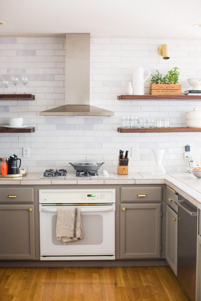 Rustic White Brick Kitchen Backsplash Installation Gallery