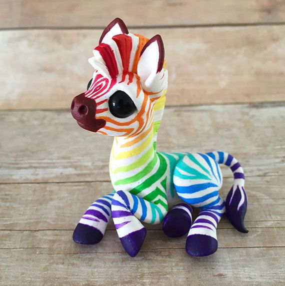 clay Rainbow Zebra Sculpture by Dragons and Beasties