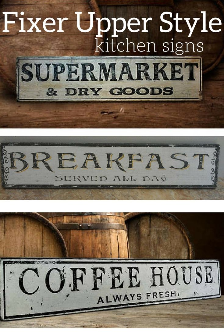 I love these fixer upper style signs, they would be great for any kitchen decor. Love them.#affiliate #signs #fixerupper #farmhouse #rusticdecor
