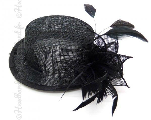 Chapeau cabaret plumes noires