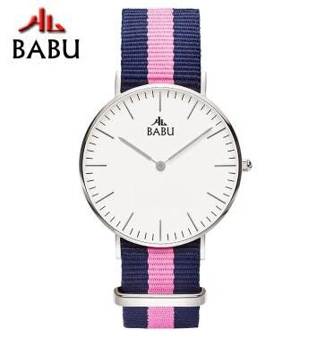 BABU Branded Lady Watch For Woman Rose Gold Women Dress Watches With Pink Nylon Band And Japan Movement Damske Hodinky
