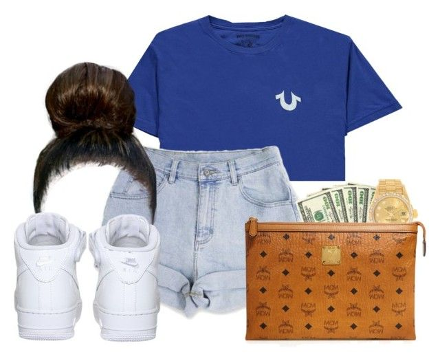 """""""Chiraq- Young Pappy"""" by ssophiiia ❤ liked on Polyvore featuring True Religion, NIKE, Rolex and MCM"""