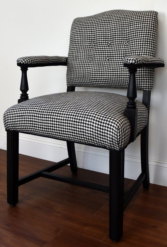 Black White Houndstooth Upholstered Chair In 2020 Patterned