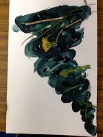 Fingerprint Tornado Craft (use stickers or objects gathered outside to place on tornado) | Kindergarten Faith