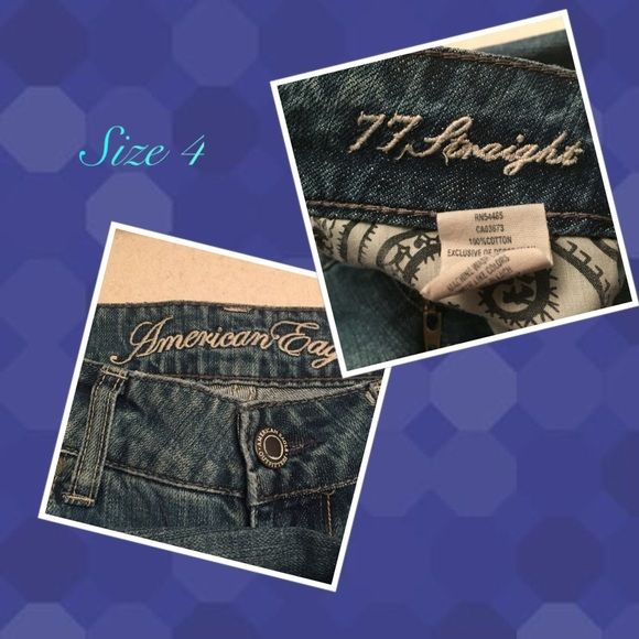 "AE Outfitters distressed jeans American Eagle ""live your life"" size 4 regular. Distressed pockets and thighs. It's wear is intentional. Style 77 straight. rise 7"" inseam 31"" hem 15"" 100% cotton *4 American Eagle Outfitters Jeans Straight Leg"