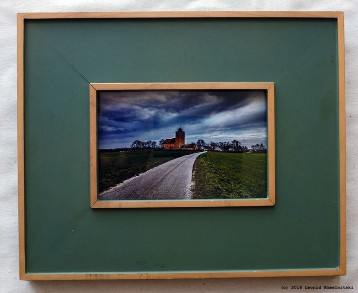 My photo  Village Church in Køng  in Danish green and gold vintage frame