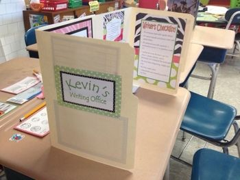 "She uses these folders to create a writing office. I could have students create their own"" office space"" for testing including their written goals for math, problem solving strategies for when they are stuck, motivational quotes, pictures etc. Good beginning of the year activity and way to keep kids motivated and on task when distracted."