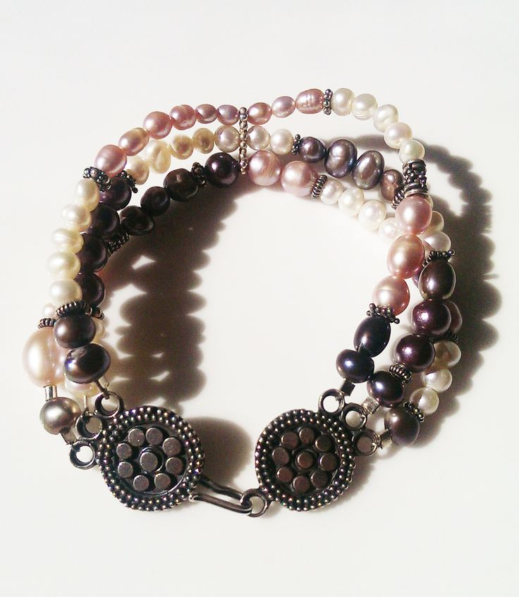 Freshwater Pearl Bracelet in Pink White Metalic Grey and Sterling Silver