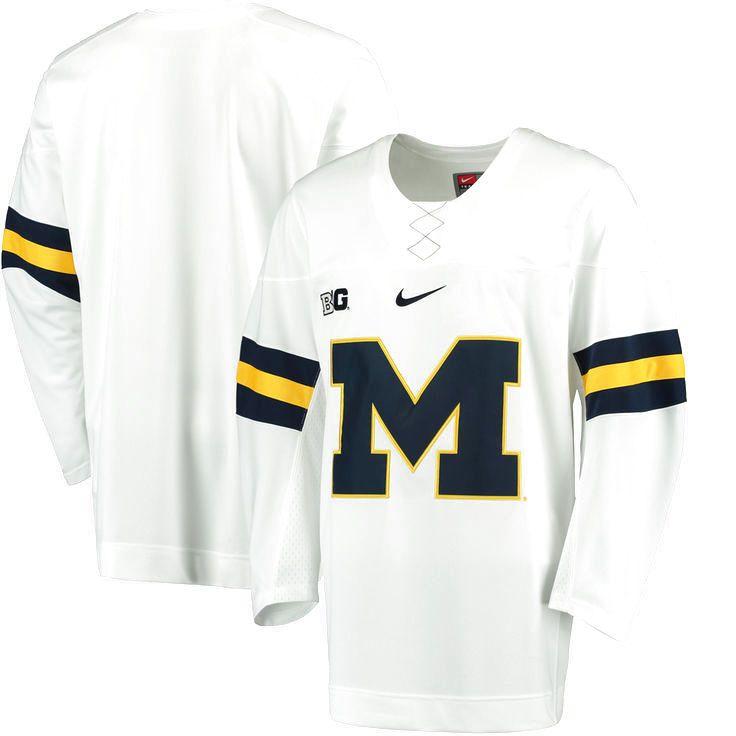 Michigan Wolverines Nike Replica Hockey Jersey - White - $124.99