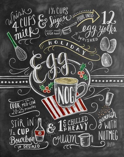 Egg Nog is more than rich cream, silky yokes and a hint of Christmas cheer; it is a tradition. Hand lettered chalk art home decor print by Valerie McKeehan.